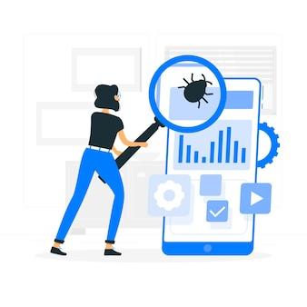 Ilustração de conceito de teste móvel
