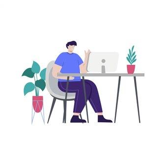 Ilustração de conceito de trabalho de homem de negócios para landing page