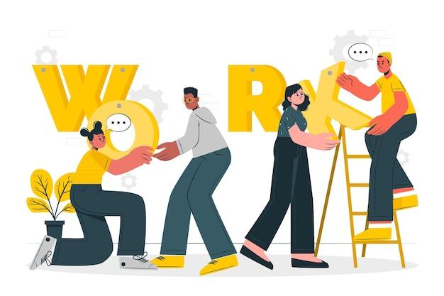 Ilustração de conceito de trabalho em equipe