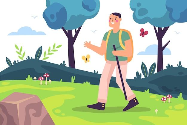 Ilustração de conceito de turismo ecológico