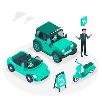 Ilustração de conceito de venda de veículo