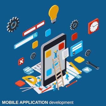 Ilustração de conceito de vetor de desenvolvimento de aplicativos móveis