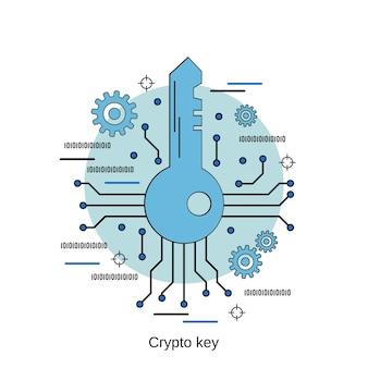 Ilustração de conceito de vetor de estilo de design plano chave cyber