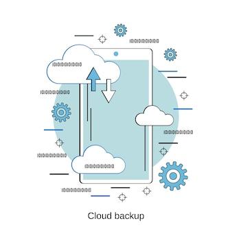 Ilustração de conceito de vetor de estilo de design plano de backup em nuvem