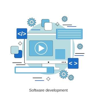 Ilustração de conceito de vetor de estilo de design plano de desenvolvimento de software