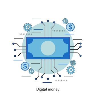 Ilustração de conceito de vetor de estilo de design plano de dinheiro digital