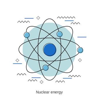 Ilustração de conceito de vetor de estilo de design plano de energia nuclear