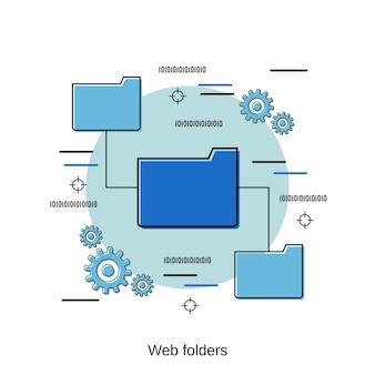 Ilustração de conceito de vetor de estilo de design plano de pastas da web
