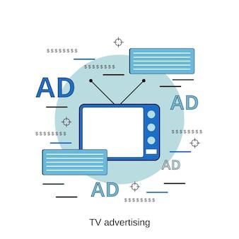 Ilustração de conceito de vetor de estilo de design plano de propaganda de tv