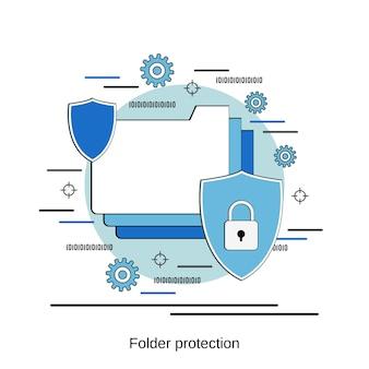 Ilustração de conceito de vetor de estilo de design plano de proteção de pasta
