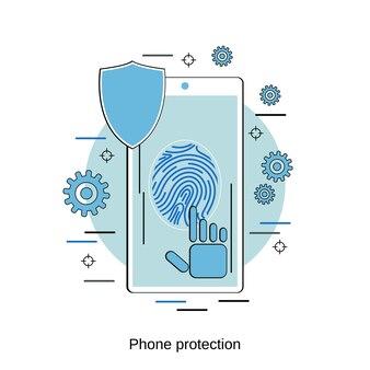Ilustração de conceito de vetor de estilo de design plano de proteção de telefone