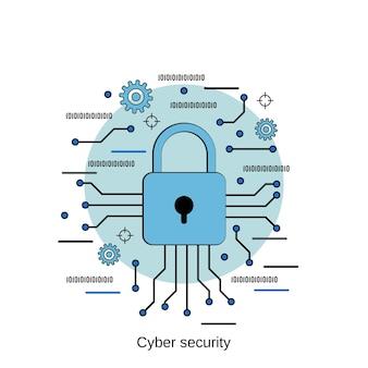 Ilustração de conceito de vetor de estilo de design plano de segurança cibernética
