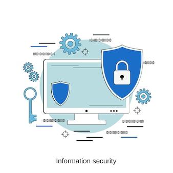 Ilustração de conceito de vetor de estilo de design plano de segurança da informação