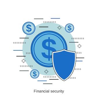 Ilustração de conceito de vetor de estilo de design plano de segurança financeira