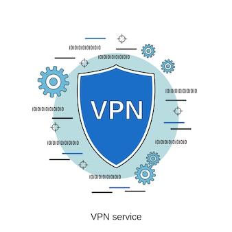Ilustração de conceito de vetor de estilo de design plano de serviço vpn