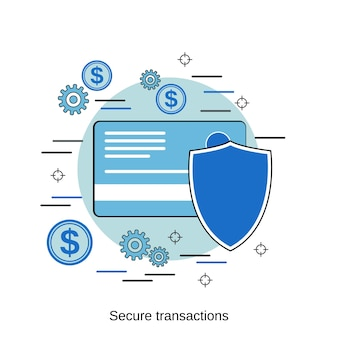 Ilustração de conceito de vetor de estilo de design plano de transações seguras