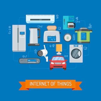 Ilustração de conceito de vetor de internet das coisas em design plano