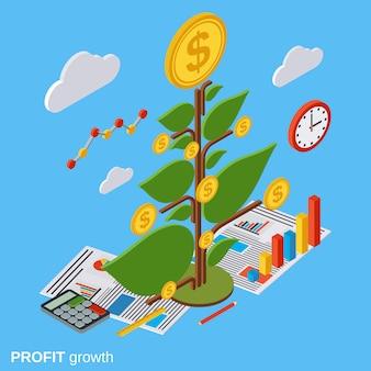 Ilustração de conceito de vetor isométrica de árvore de dinheiro