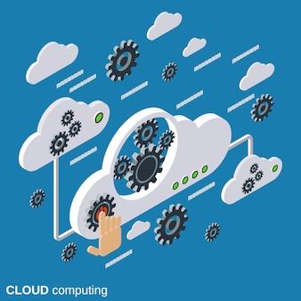 Ilustração de conceito de vetor isométrica plana de computação em nuvem