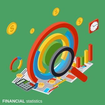Ilustração de conceito de vetor isométrica plana de estatísticas financeiras