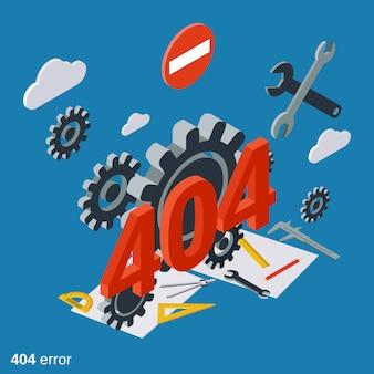 Ilustração de conceito de vetor isométrica plana de página de erro 404