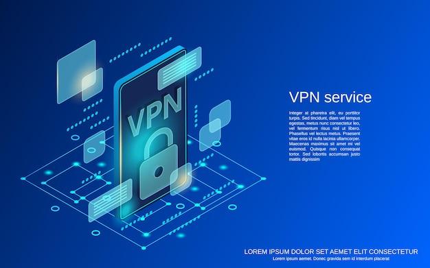 Ilustração de conceito de vetor isométrico 3d plana de serviço vpn