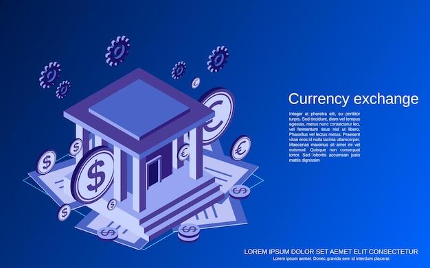 Ilustração de conceito de vetor isométrico plano 3d de câmbio de moeda