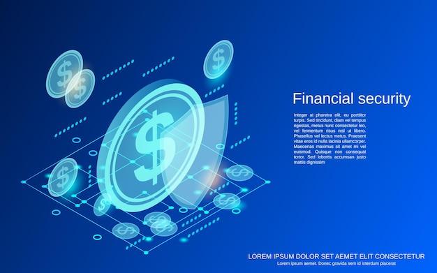 Ilustração de conceito de vetor isométrico plano 3d de segurança financeira