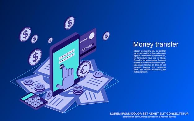 Ilustração de conceito de vetor isométrico plano 3d para transferência de dinheiro