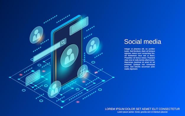 Ilustração de conceito de vetor isométrico plano de mídia social