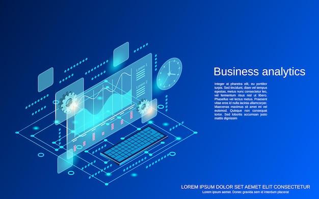 Ilustração de conceito de vetor plano isométrico de análise de negócios