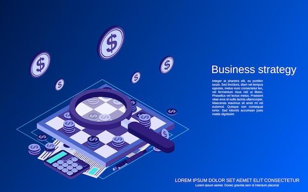 Ilustração de conceito de vetor plano isométrico de estratégia de negócios
