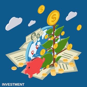 Ilustração de conceito de vetor plano isométrico de investimento