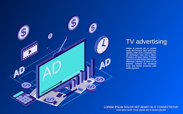 Ilustração de conceito de vetor plano isométrico de marketing de tv