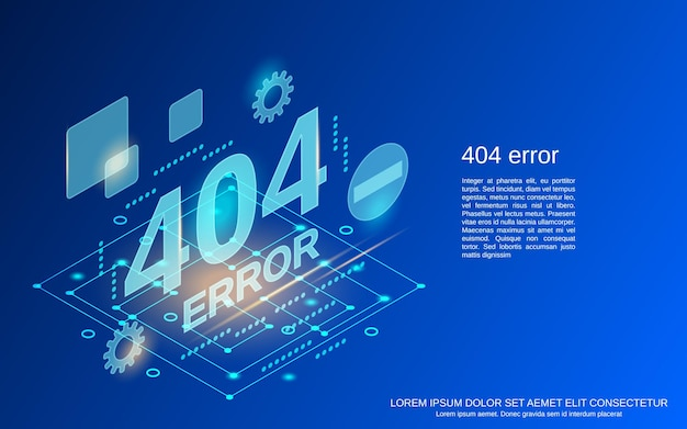 Ilustração de conceito de vetor plano isométrico de página de erro 404