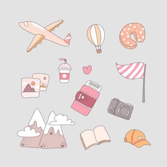 Ilustração de conceito de viagem em vetor desenho animado em estilo simples