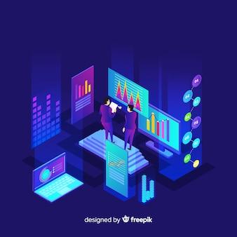 Ilustração de conceito de visialização de dados isométrica