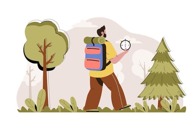 Ilustração de conceito de web de campanha na floresta com personagem de pessoas planas