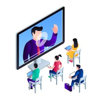 Ilustração de conceito de webinar de vídeo de computador, estilo isométrico