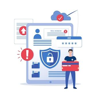 Ilustração de conceito design plano roubar dados