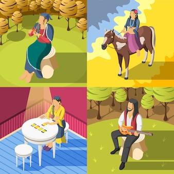 Ilustração de conceito isométrica de ciganos
