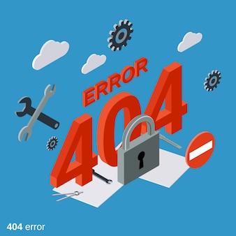 Ilustração de conceito isométrica plana de página de erro 404