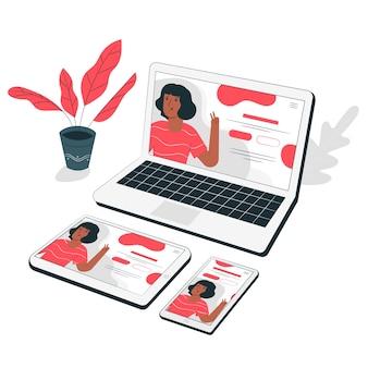 Ilustração de conceito juntos de dispositivos web