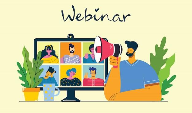 Ilustração de conceito on-line de webinar. as pessoas usam o bate-papo por vídeo no desktop e laptop para fazer a conferência.