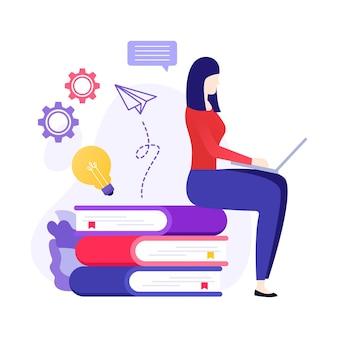 Ilustração de conceito online de estudo de aprendizagem