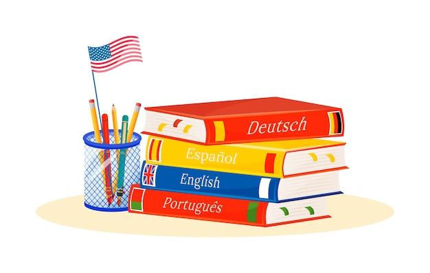 Ilustração de conceito plana de aprendizagem de línguas estrangeiras. cursos de espanhol, português e alemão. matérias escolares. metáfora do estudo da linguística. livro e dicionário de objetos de desenho em 2d