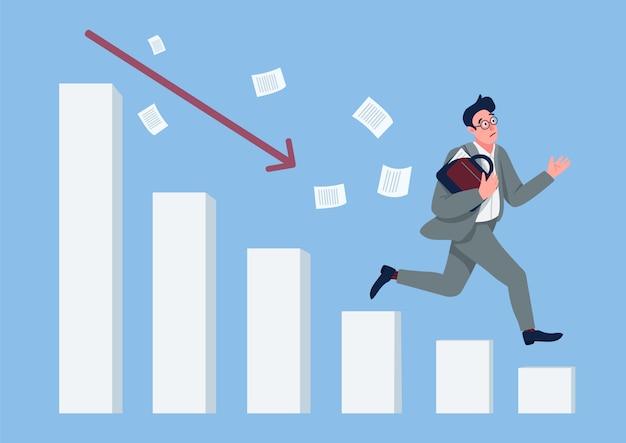Ilustração de conceito plana de crise econômica