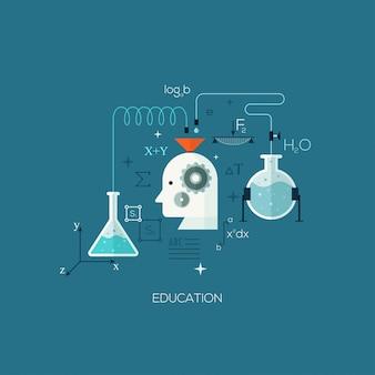 Ilustração de conceito plana projetada para educação