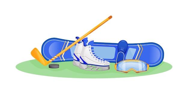 Ilustração de conceito plano de equipamento de esporte de inverno masculino