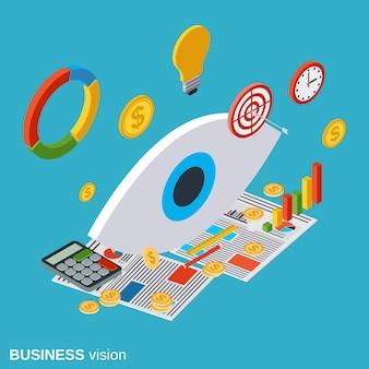 Ilustração de conceito plano isométrico de visão de negócios